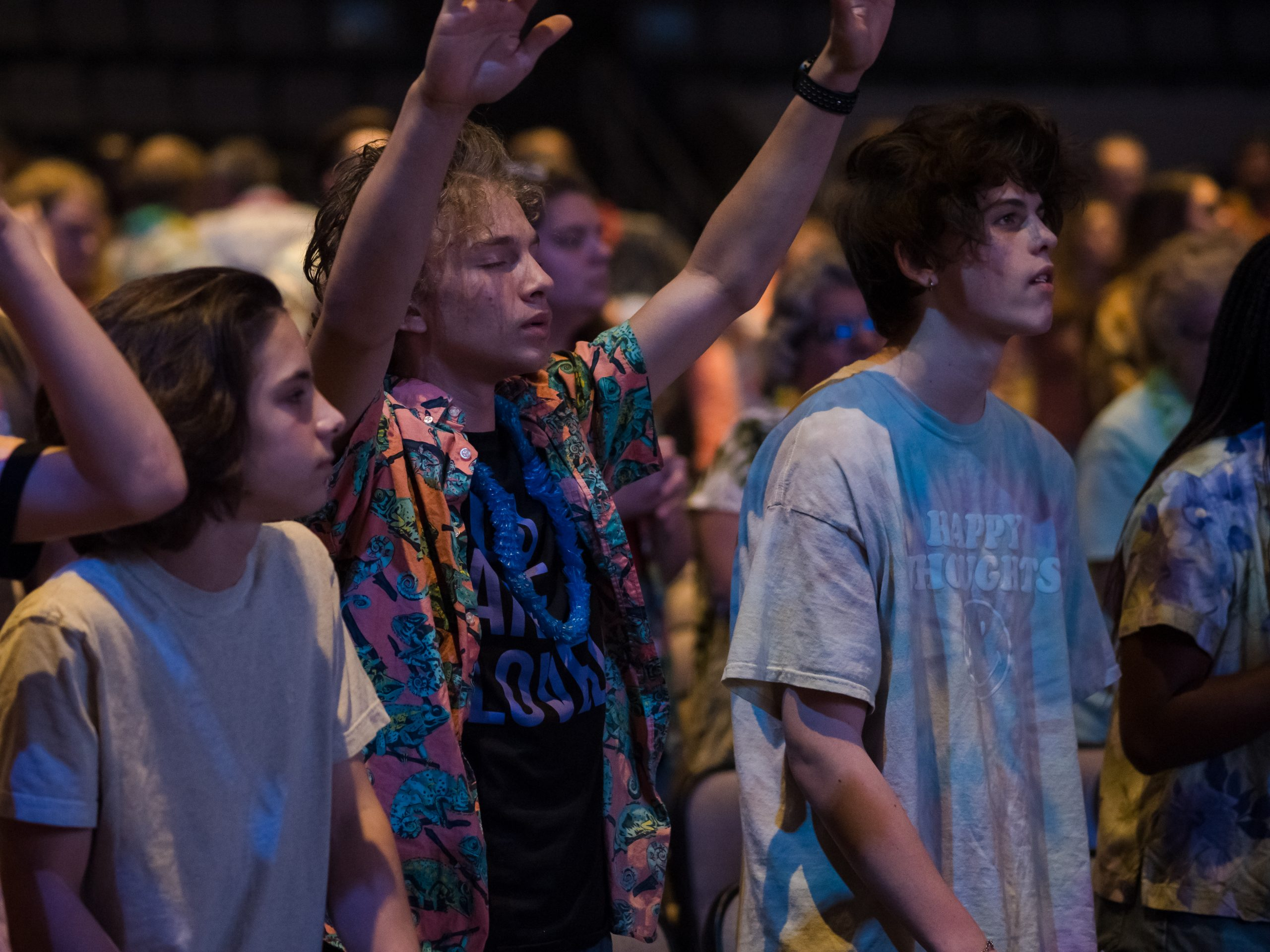 Meadville Dream Team night - people worshipping